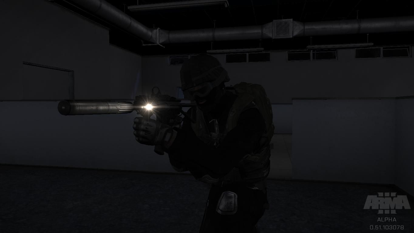 ArmA 3: SWAT team with tactical flashlight